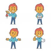 Set of four flat character businessmans. — Stock Vector