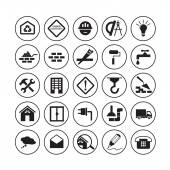 Flat building icons — Stock Vector