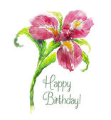 Greeting card Happy Birthday with red watercolor iris flower — Stock Vector