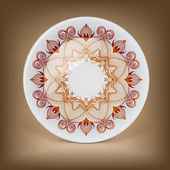 Decorative plate with oriental round lace pattern. — Stock Photo