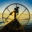 Fishermen in Inle Lake at sunrise, Shan State, Myanmar  — Stock Photo #54050461