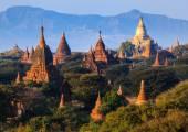The Temples of Bagan at sunset, Bagan, Myanmar  — Stock Photo