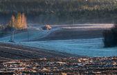 Fusión de nieve en el campo arado — Foto de Stock
