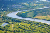 Aerial view on the flood land the great river during summer. — Foto Stock