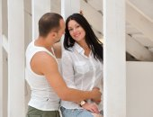 Young couple on in love at home, standing — Stock Photo
