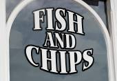 Fish and chips display — Foto de Stock