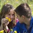 Boy and girl lying in a field of dandelion — Stock Photo #70679345