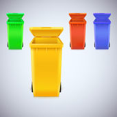 Colored waste bins with the lid open — ストックベクタ