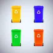 Colored waste bins with the lid closed — Vettoriale Stock