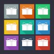 Gift box flat icons. — Stock Vector #59138497