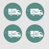Set of icons with the delivery car of goods on round background — Stock Vector