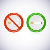 No smoking and Smoking area labels. — Stock Vector