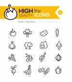 Vegetables Line Icons including: tomato, broccoli, carrot etc.. — Stock Vector