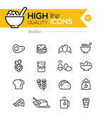 Breakfast Icons line series including: pancake, cereal, butter e — Stock Vector