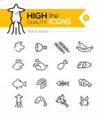 Meat & Seafood Line Icons including: Beef, chicken, fish, sushi  — Stock Vector