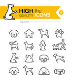 Dog Line Icons — Stock Vector