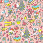 Tea party pattern background — 图库矢量图片