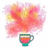 Curly and steamy tea party cup — Stock Vector