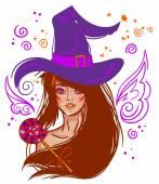 Halloween vector witch — Stock Vector