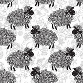 New year sheep pattern — Stockvektor