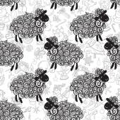 New year sheep pattern — Stockvector