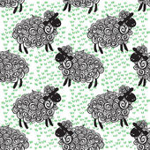 Sheep pattern vector background — Stock Vector