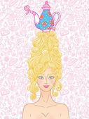 Tea party girl — Stock Vector
