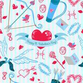 情人节那天爱情模式 — 图库矢量图片