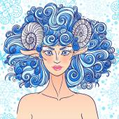 Zodiac sign Aries. Blue sheep lady. — Stock Vector