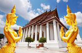 Wat ratchanaddaram ispaat prasat metal palacio y en bangkok, tailandia — Foto de Stock