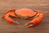 cooked red crab on wooden table — Stok fotoğraf