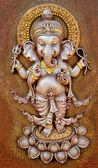 The Indian God Ganesha made from clay in low relief carving  — Stock Photo