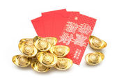 Chinese new year ornament,Stack of gold ingots and Blessing word — Stock Photo