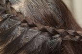 Braid Hairstyle,grey Brown long hair close up — Stock Photo