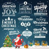 Christmas decoration collection of calligraphic and typographic design with labels, symbols and icons elements — Stock Vector