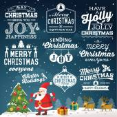 Christmas decoration collection of calligraphic and typographic design with labels, symbols and icons elements — Vector de stock