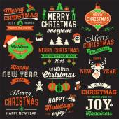 Vector collection of Christmas symbols, labels, icons, elements and decoration — Stock Vector