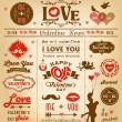 Valentine's day newspaper design with labels, icons elements collection — Stock Vector #63544037