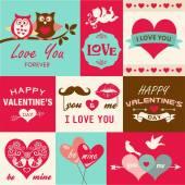 Aftelkalender voor Valentijnsdag kaart en ontwerpelementen — Stockvector