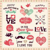 Valentine's day typography, labels and icons elements collection — Stockvector