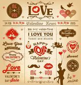 Valentine's day newspaper design with labels, icons elements collection — Stock Vector