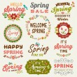 Vintage Spring typography design with labels, icons elements collection — Stock Vector #65142915