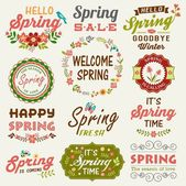 Vintage Spring typography design with labels, icons elements collection — Stock Vector