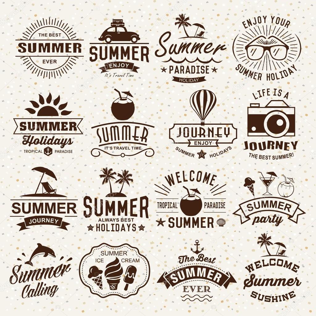 Summer Typography Designs Summer Logotypes Set Vintage