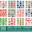 160 Labels and Logotypes design set. Retro Typography design. Badges, Logos, Borders, Arrows, Ribbons, Icons and Objects. — Stock Vector #74193677