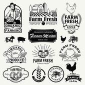 Farm logotypes set. Retro Farm Fresh labels, logos, badges, icons, objects and elements. — Stock Vector