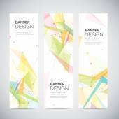 Vector vertical banners set with polygonal abstract shapes, circles, lines, triangles — Stock Vector