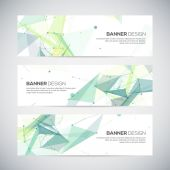 Vector banners set with polygonal abstract shapes, circles, lines, triangles — Stock Vector