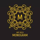 Modello di progettazione di logo floreale vintage monogram floreale. Lineart elegante fantasia logo, illustrazione vettoriale. — Vettoriale Stock
