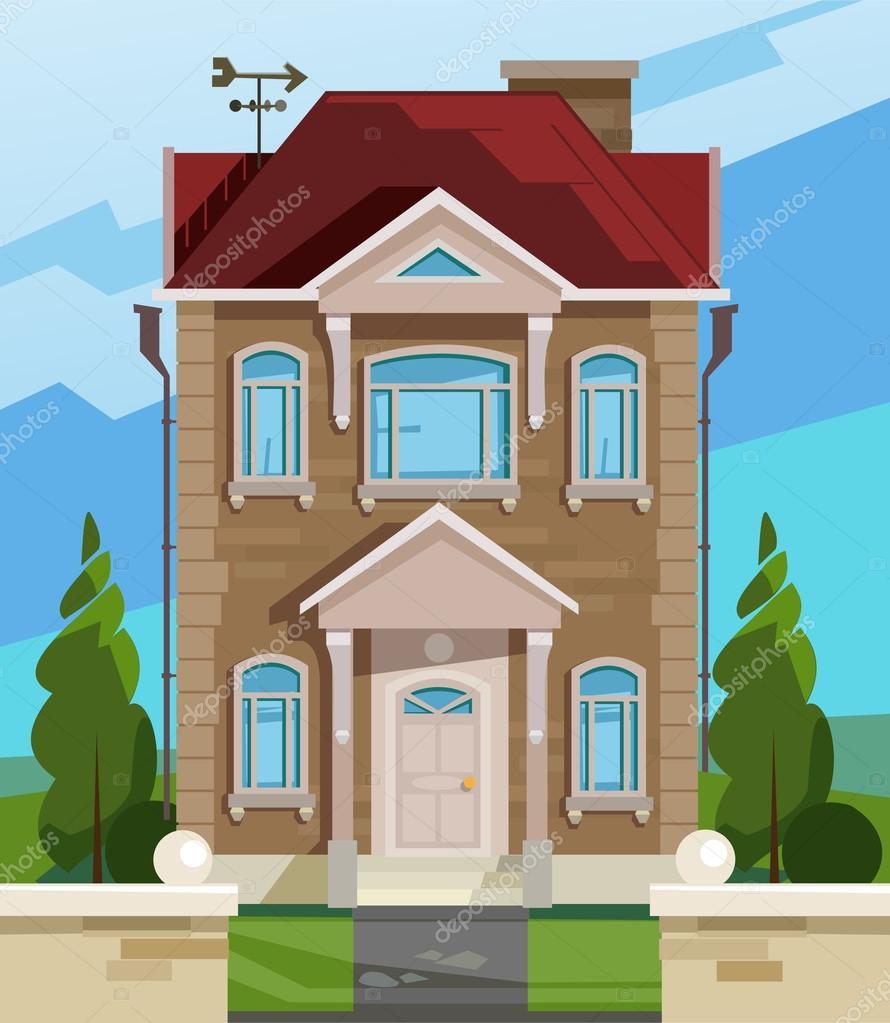 Illustrazione vettoriale di casa facciata della casa for Piani sud ovest della casa con cortile
